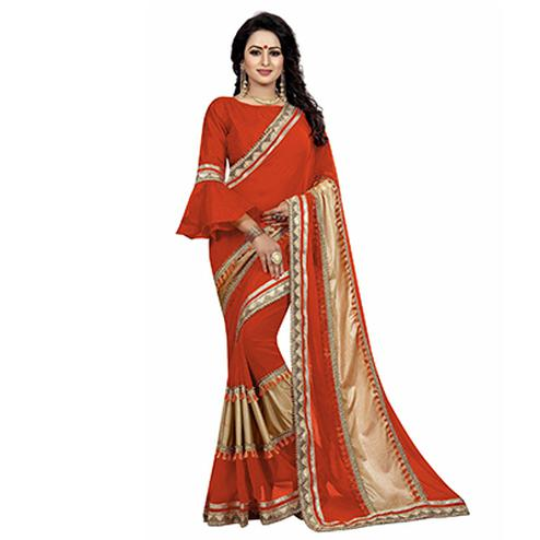 Red Colored Designer Partywear Marble Silk-Lycra Saree