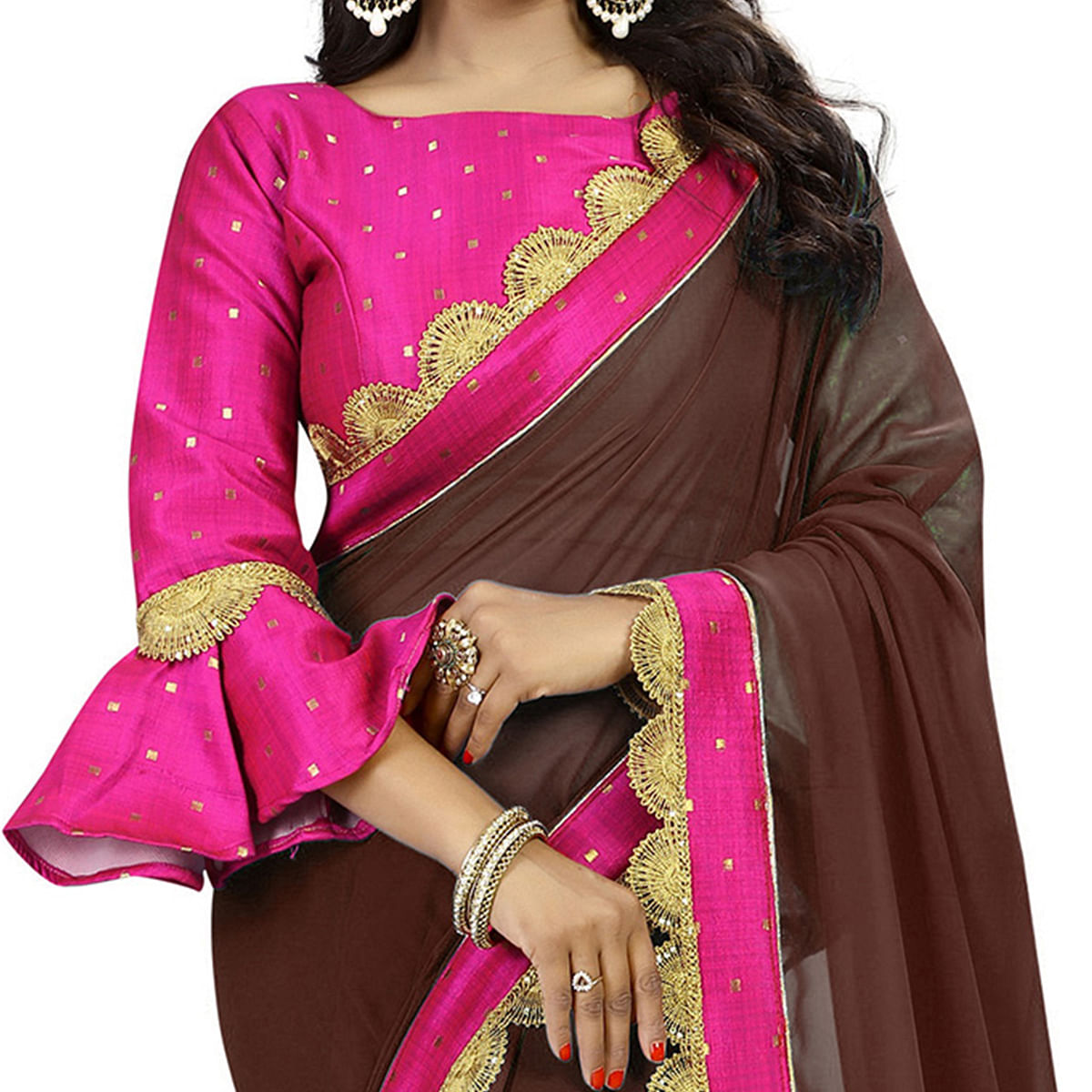 Brown-Pink Colored Designer Partywear Georgette Saree