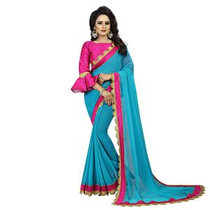 Sky Blue-Pink Colored Designer Partywear Georgette Saree