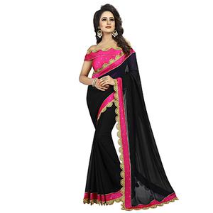 Black-Pink Colored Designer Partywear Georgette Saree