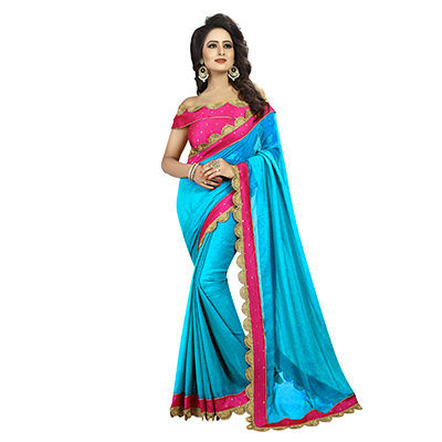 Firozi-Pink Colored Designer Partywear Georgette Saree