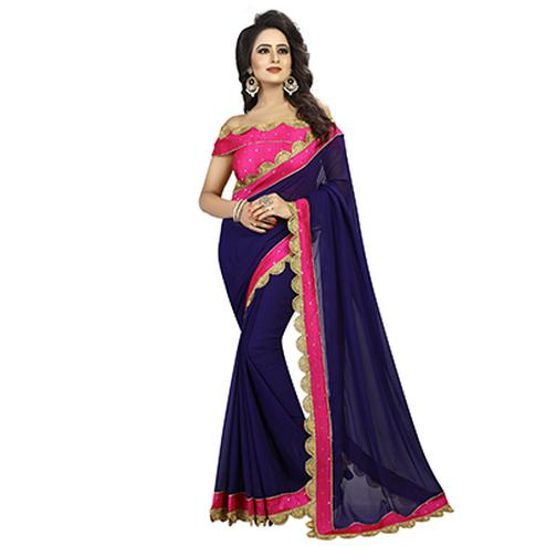 Navy Blue-Pink Colored Designer Partywear Georgette Saree