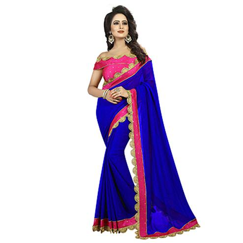Royal Blue-Pink Colored Designer Partywear Georgette Saree