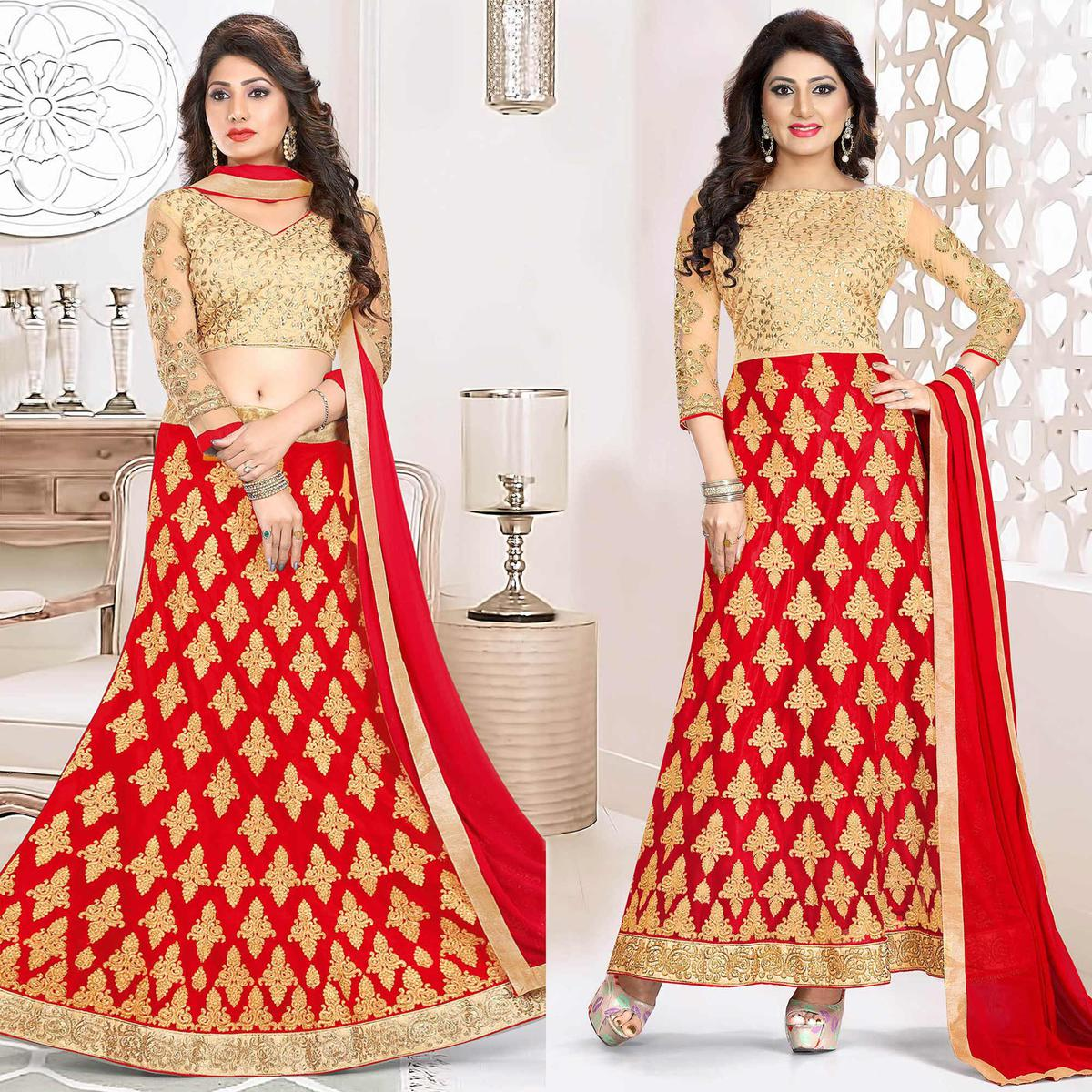 Adorable Red Colored Heavy Embroidered Art Silk-Net Lehenga / Anarkali