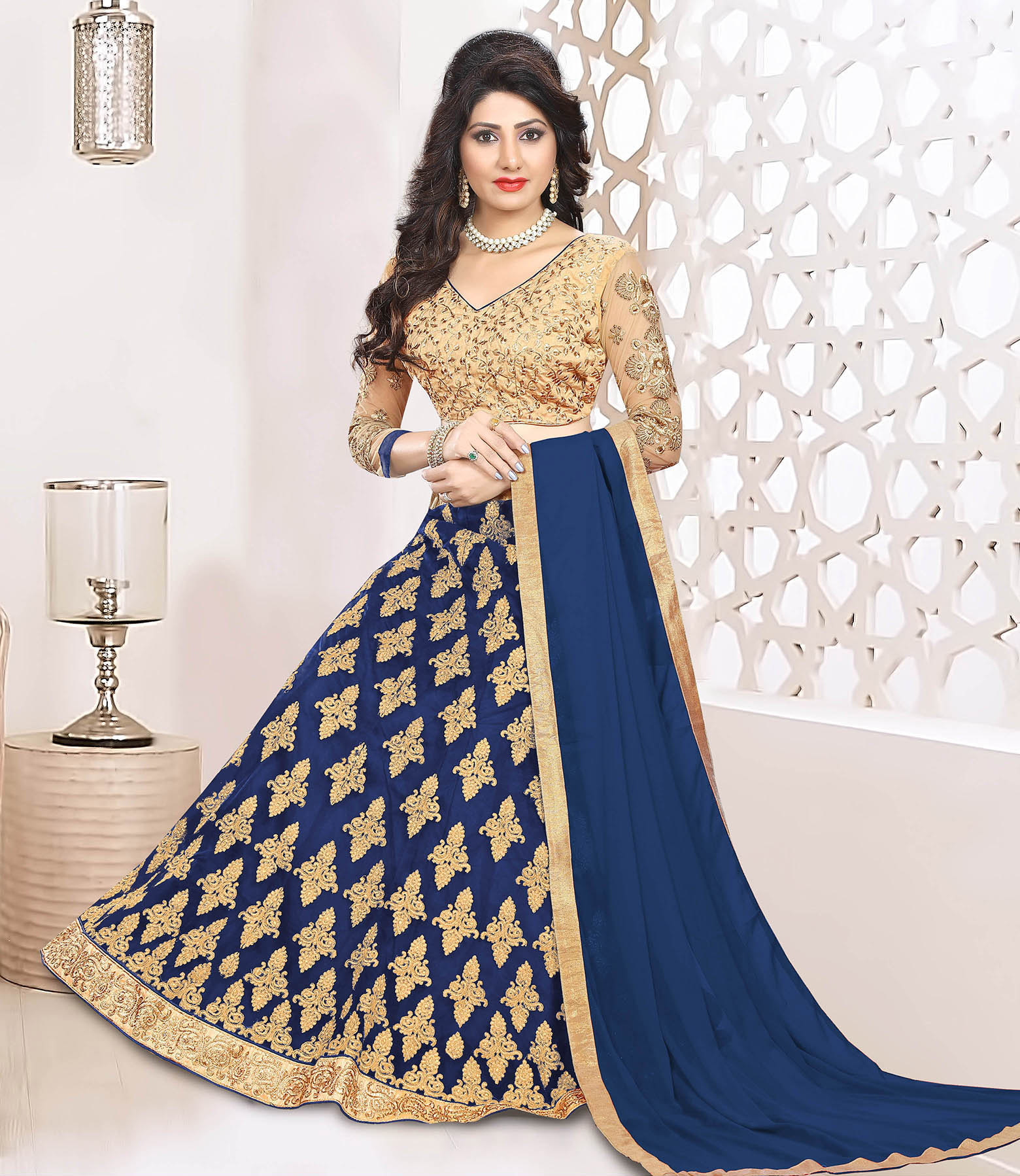 Dazzling Navy Blue Colored Heavy Embroidered Art Silk-Net Lehenga / Anarkali