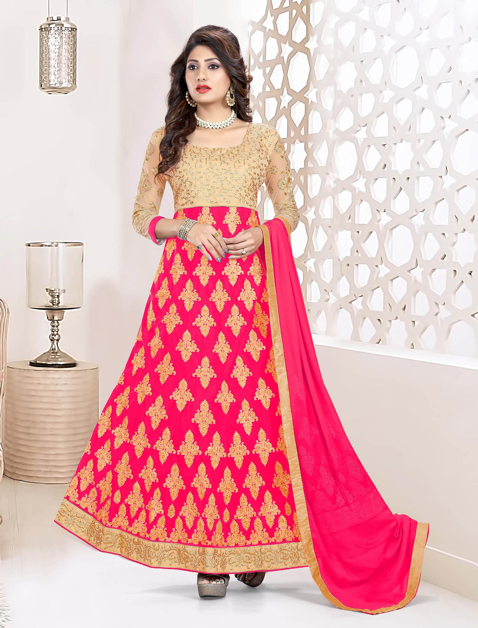 Ravishing Fuschia Pink Colored Heavy Embroidered Art Silk-Net Lehenga / Anarkali