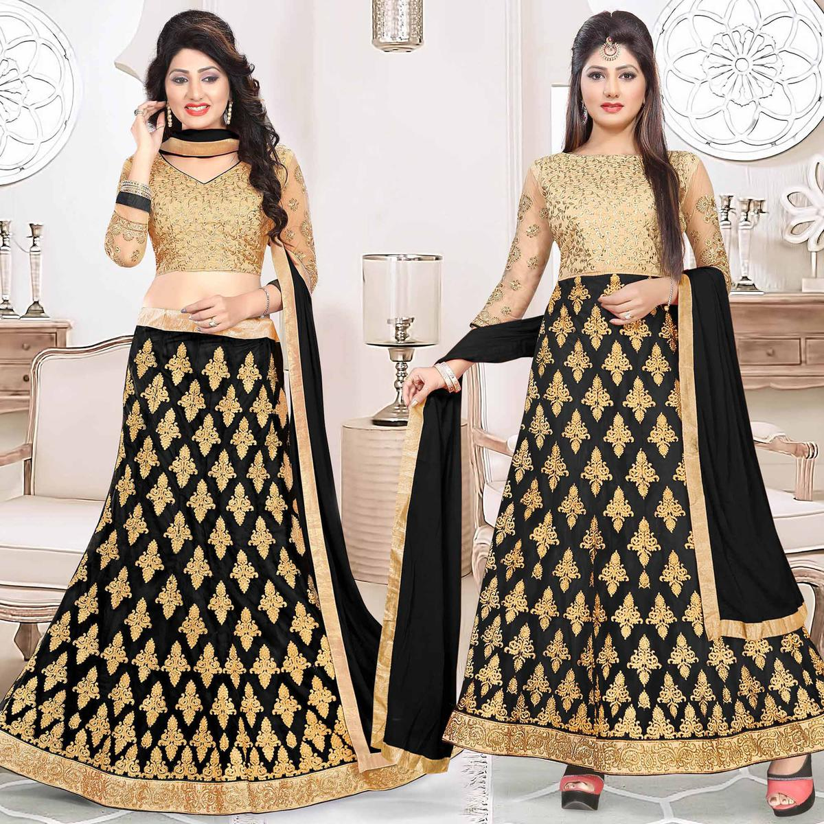 Sensational Black Colored Heavy Embroidered Art Silk-Net Lehenga / Anarkali