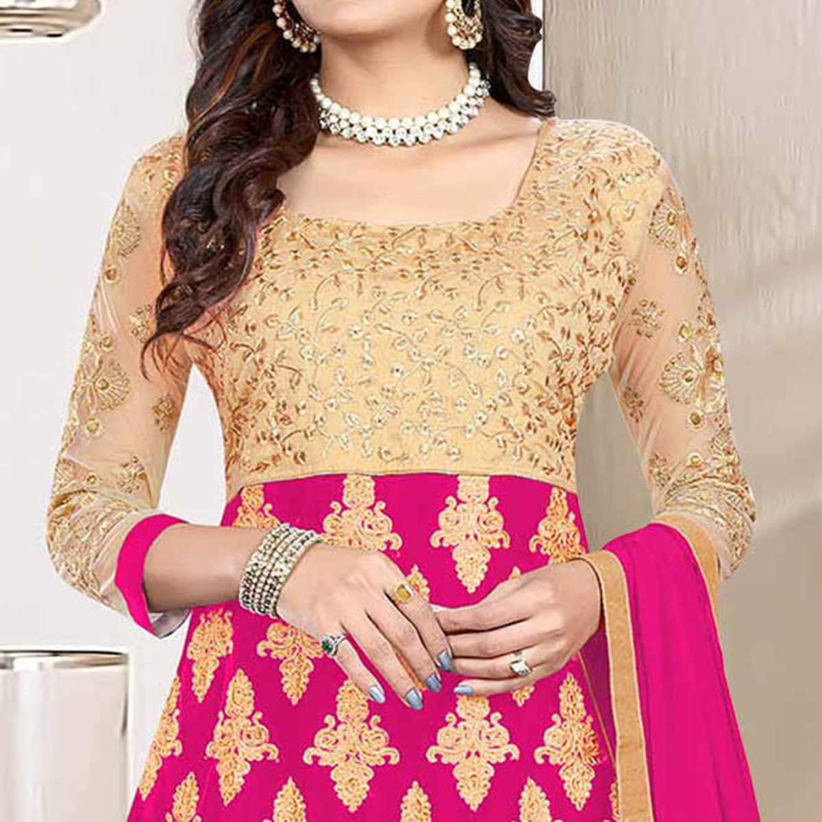 Delightful Deep Pink Colored Heavy Embroidered Art Silk-Net Lehenga / Anarkali