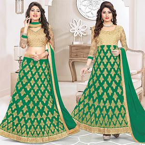Glorious Green Colored Heavy Embroidered Art Silk-Net Lehenga / Anarkali
