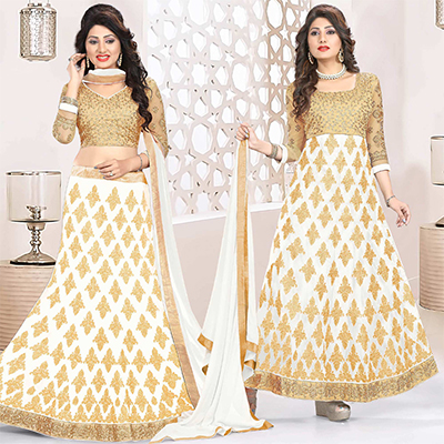 Lovely White Colored Heavy Embroidered Art Silk-Net Lehenga / Anarkali