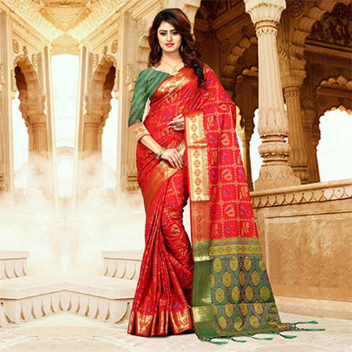 Irresistible Red Colored Festive Wear Heavy Banarasi Silk Saree