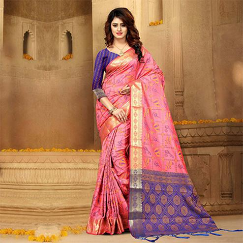 Radiant Pink Colored Festive Wear Heavy Banarasi Silk Saree
