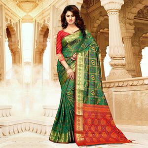 Regal Green Colored Festive Wear Heavy Banarasi Silk Saree