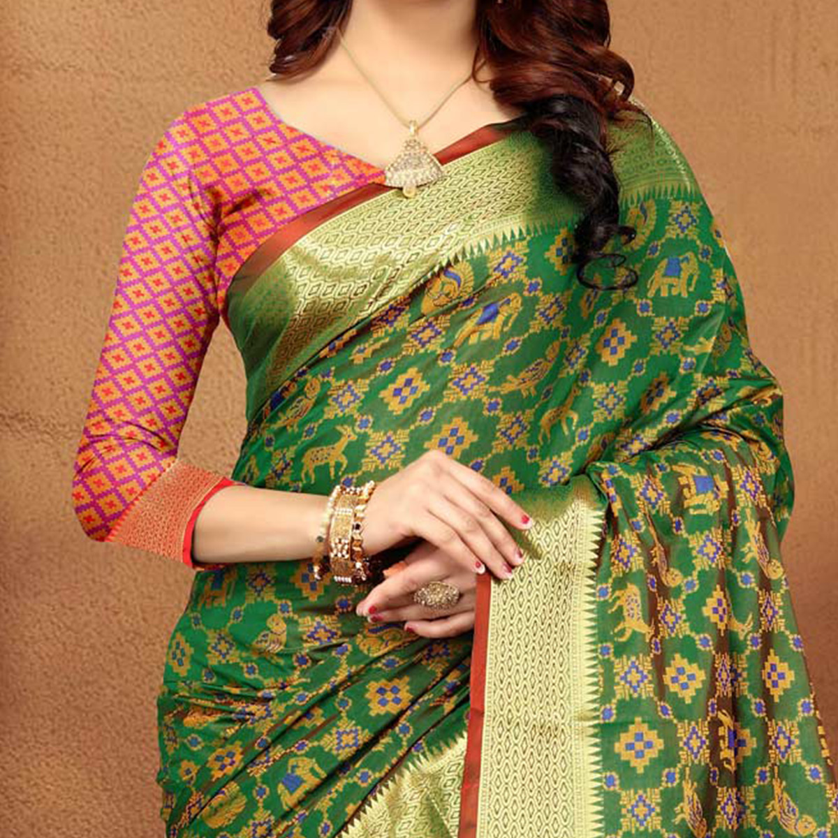 Ravishing Green Colored Festive Wear Heavy Banarasi Silk Saree