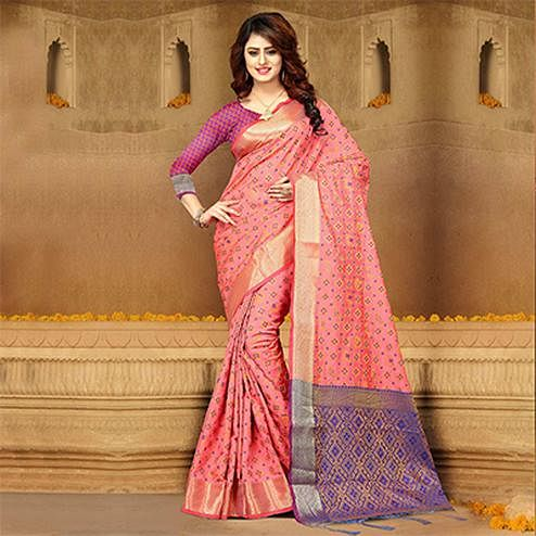 Irresistible Pink Colored Festive Wear Heavy Banarasi Silk Saree