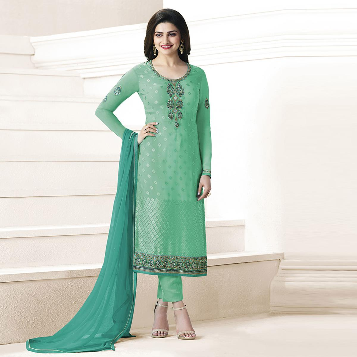 Light Green Partywear Brasso Suit