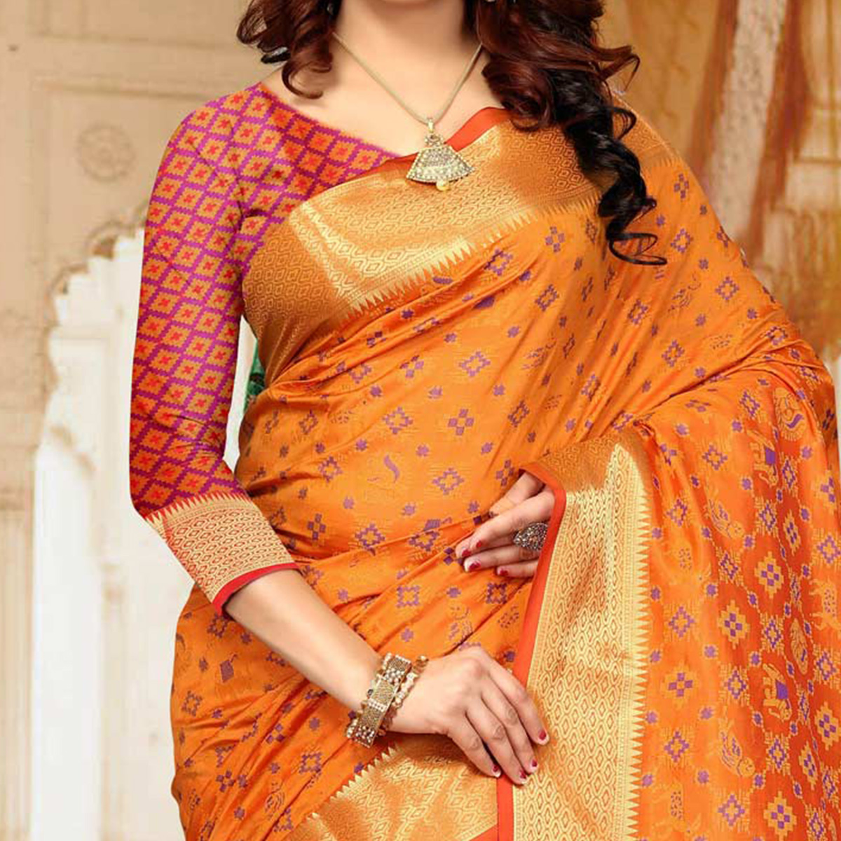 Graceful Orange Colored Festive Wear Heavy Banarasi Silk Saree
