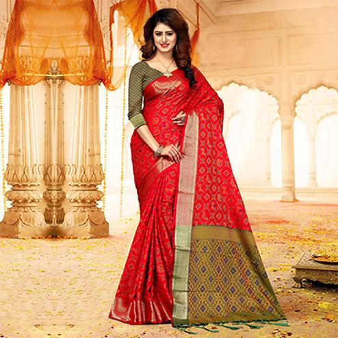 Stunning Deep Red Colored Festive Wear Heavy Banarasi Silk Saree