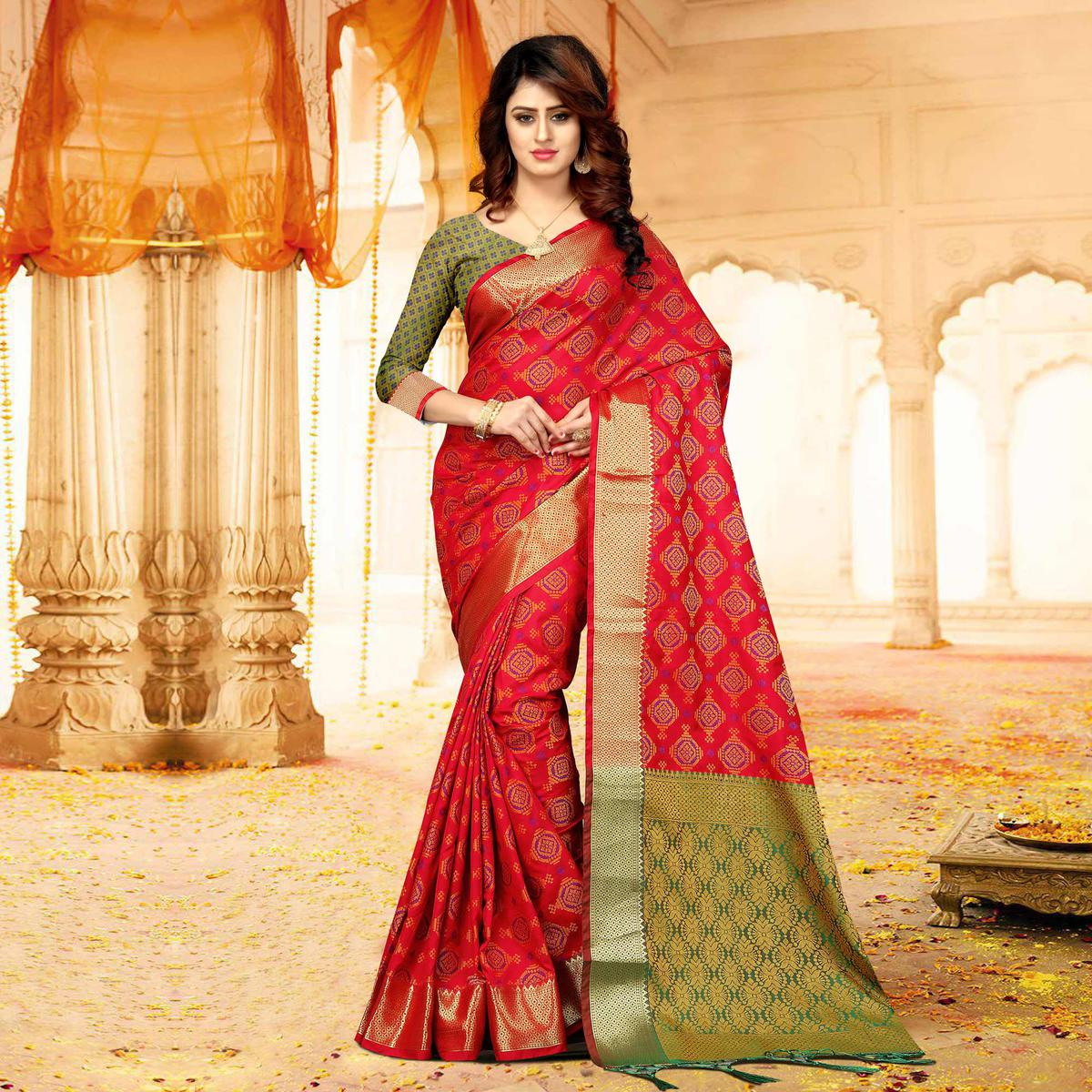 Graceful Deep Red Colored Festive Wear Heavy Banarasi Silk Saree