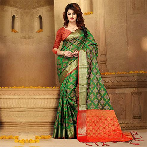 Irresistible Green Colored Festive Wear Heavy Banarasi Silk Saree