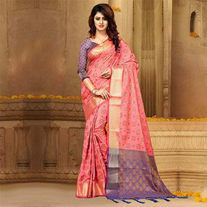 Stunning Pink Colored Festive Wear Heavy Banarasi Silk Saree