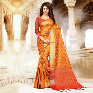 Ravishing Orange Colored Festive Wear Heavy Banarasi Silk Saree