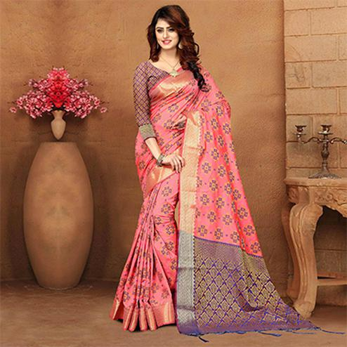 Regal Pink Colored Festive Wear Heavy Banarasi Silk Saree