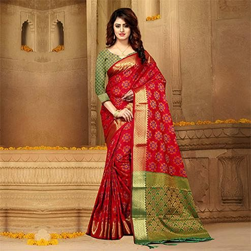 Marvellous Deep Red Colored Festive Wear Heavy Banarasi Silk Saree
