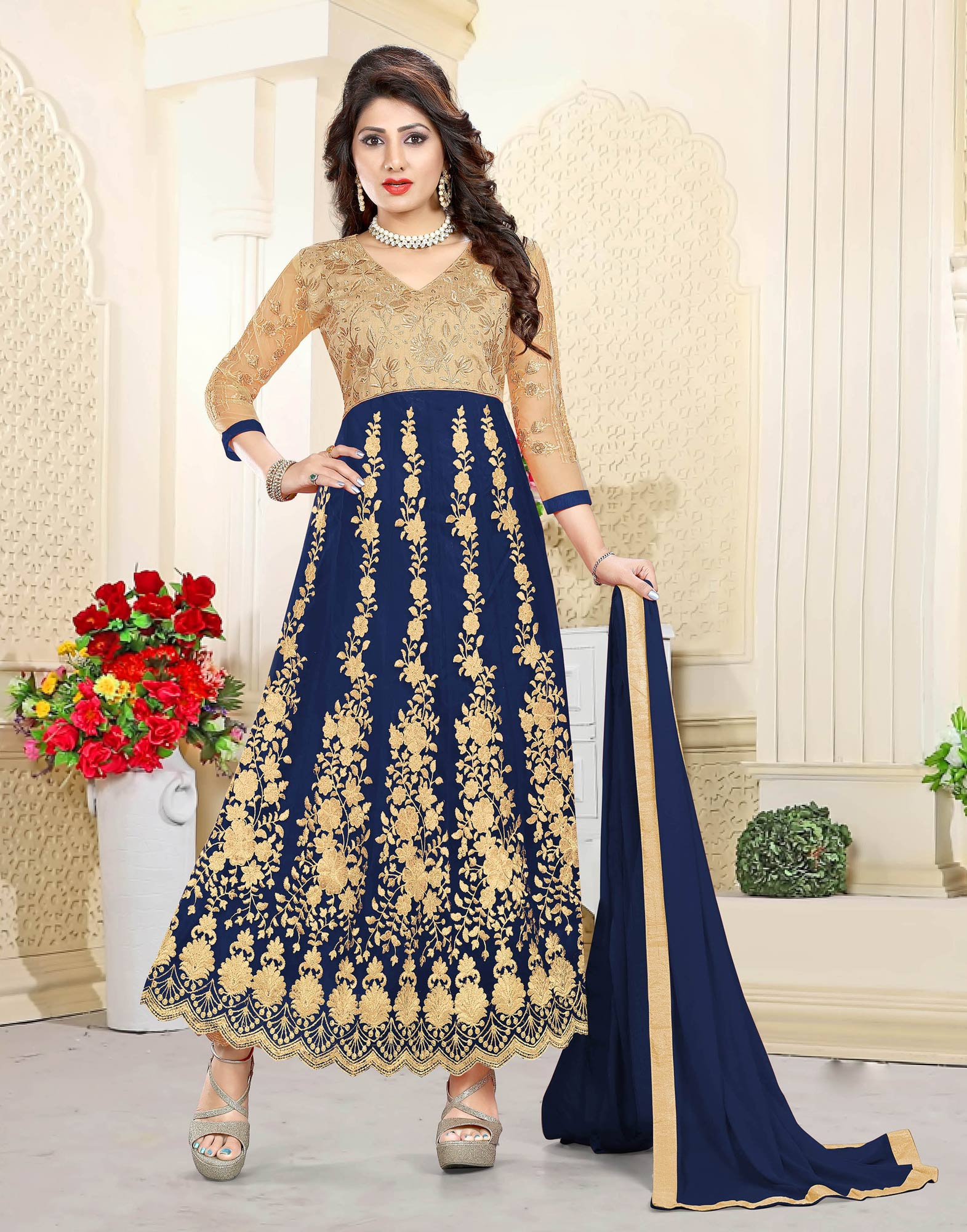 Mesmeric Beige-Navy Blue Colored Heavy Embroidered Art Silk-Net Lehenga / Anarkali