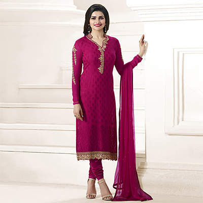Dark Pink Floral Embroidered Suit