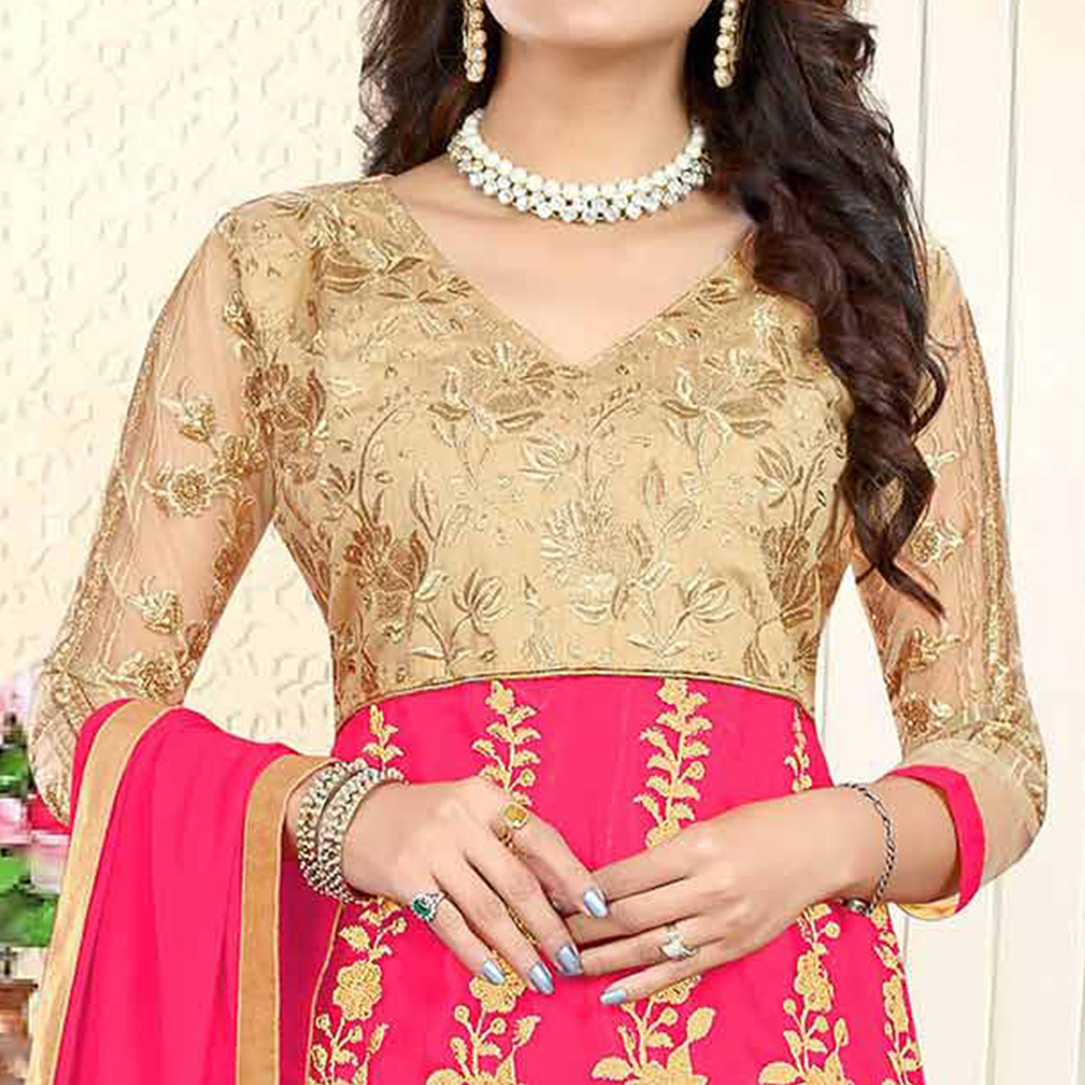 Mesmerising Beige-Fuschia Pink Colored Heavy Embroidered Art Silk-Net Lehenga / Anarkali