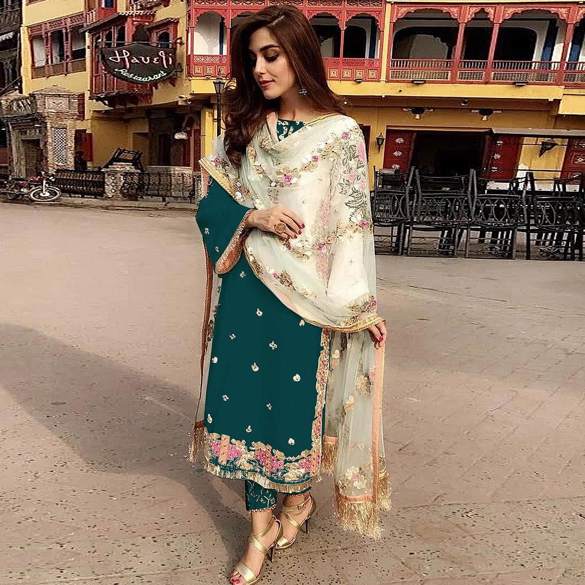 Dark Green Partywear Straight cut Style Embroidery and Moti Work faux Georgette Salwar Suit