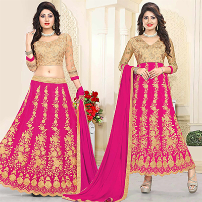 Eye-Catching Beige-Pink Colored Heavy Embroidered Art Silk-Net Lehenga / Anarkali