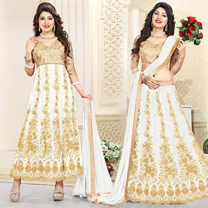 Elegant Beige-White Colored Heavy Embroidered Art Silk-Net Lehenga / Anarkali