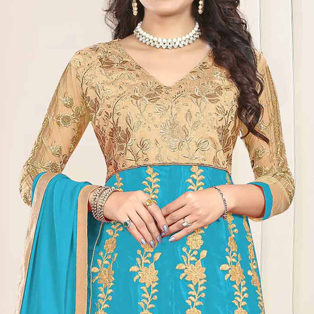 Glorious Beige-Sky Blue Colored Heavy Embroidered Art Silk-Net Lehenga / Anarkali