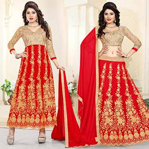 Delightful Beige-Red Colored Heavy Embroidered Art Silk-Net Lehenga / Anarkali