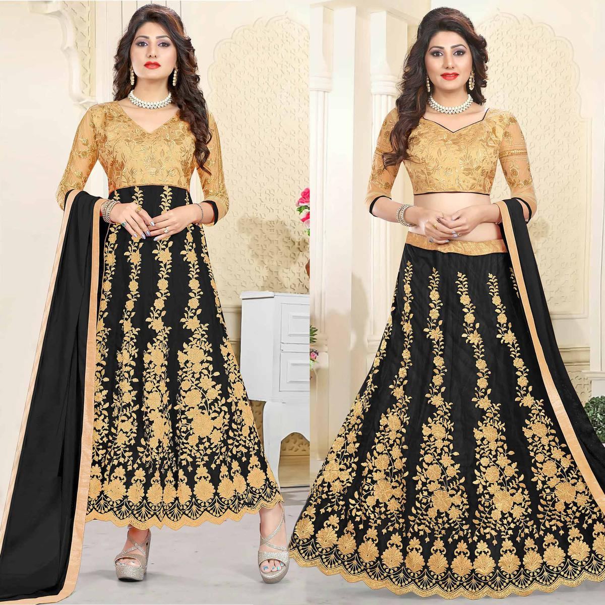 Stunning Beige-Black Colored Heavy Embroidered Art Silk-Net Lehenga / Anarkali