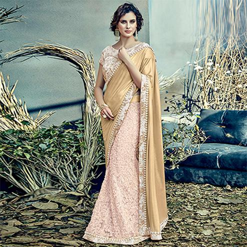 Artistic Cream Colored Designer Partywear Half-Half Lehenga Saree