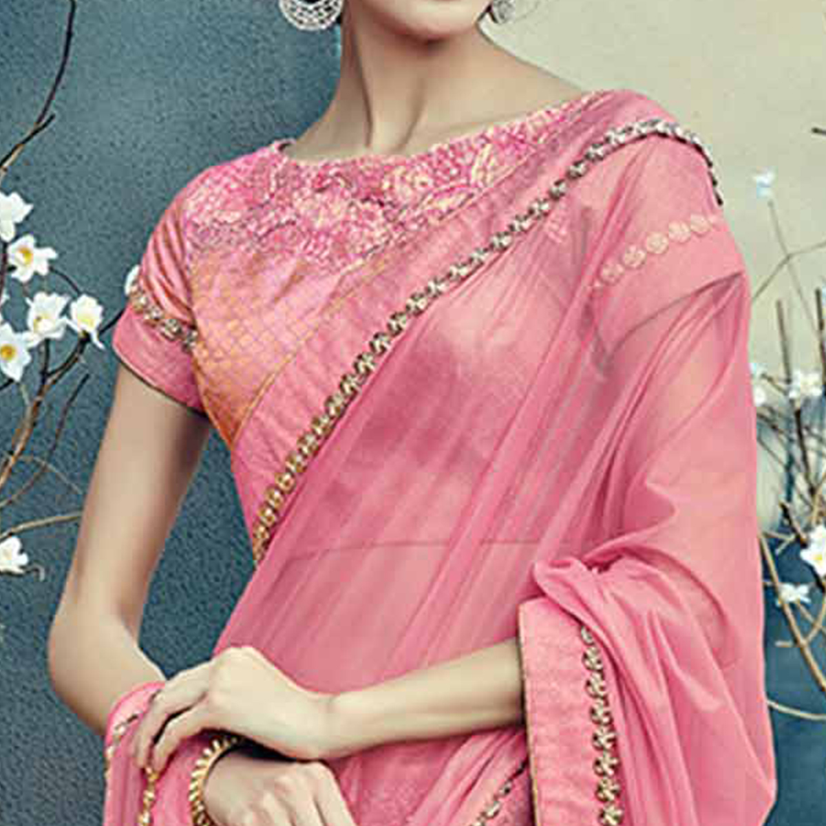 Mystical Pink Colored Designer Partywear Half-Half Lehenga Saree