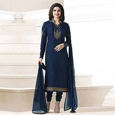 Navy Blue Embroidered Straight Cut Suit