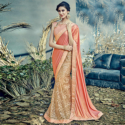 Prominent Peach Colored Designer Partywear Half-Half Lehenga Saree