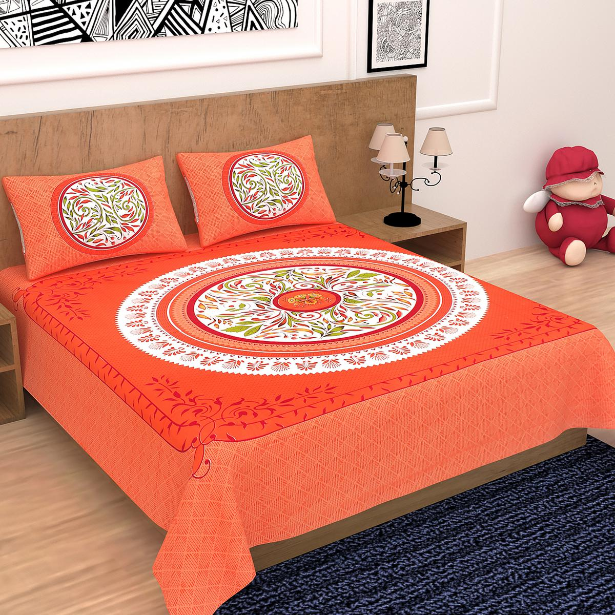 Diva Collection - Orange Queen Double Size Cotton Bedsheet With 2 Pillow Cover