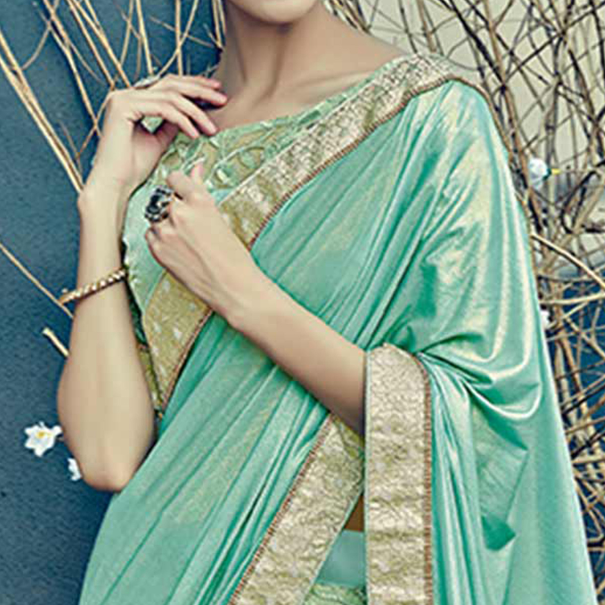 Incredible Aqua Green Colored Designer Partywear Half-Half Lehenga Saree
