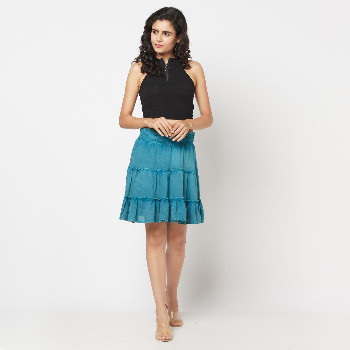 Adirav - Attractive Teal Silicon Wash Rayon Somcked Lineds Hort Skirt With Cotton Lining