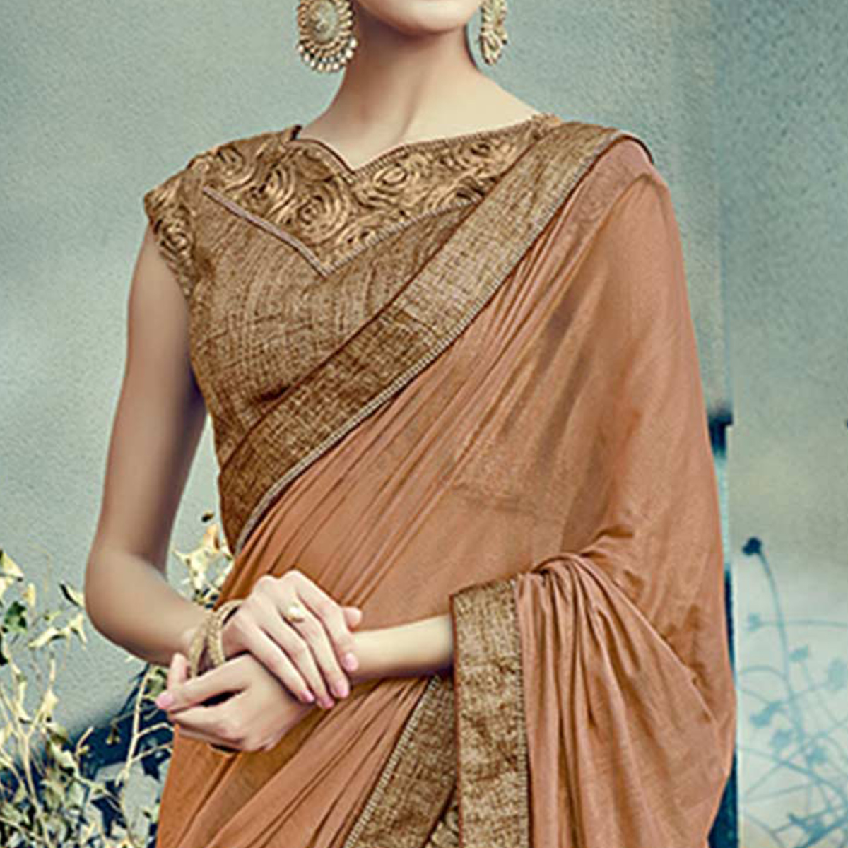 Exciting Brown Colored Designer Partywear Half-Half Lehenga Saree
