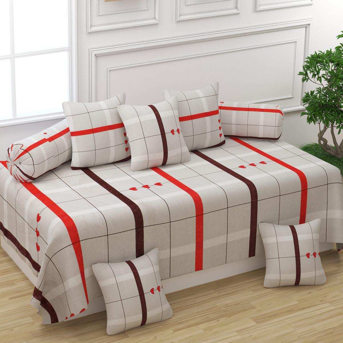 Adirav - Attractive Beige Red Check Printed Glace Cotton Single Bedsheet With Five Cushion Cover & Two Bolster Pillow Cover