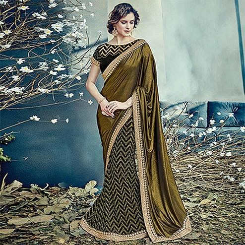 Unique Black-Gold Colored Designer Partywear Half-Half Lehenga Saree