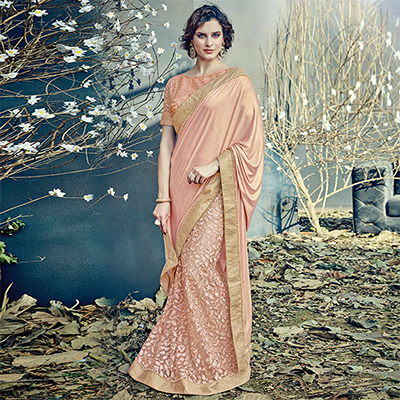 Flawless Peach Colored Designer Partywear Half-Half Lehenga Saree