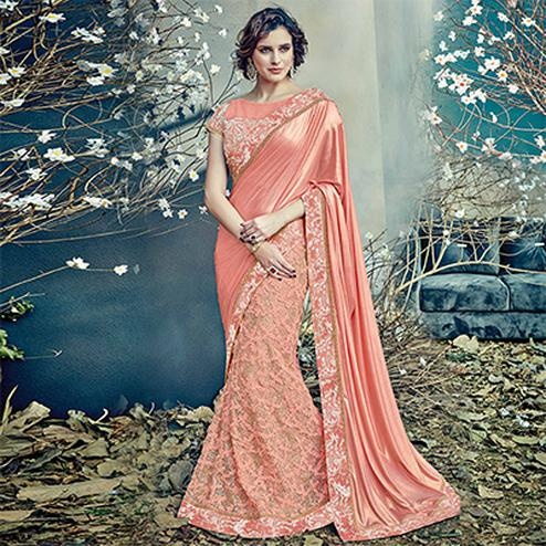 Refreshing Peach Colored Designer Partywear Half-Half Lehenga Saree