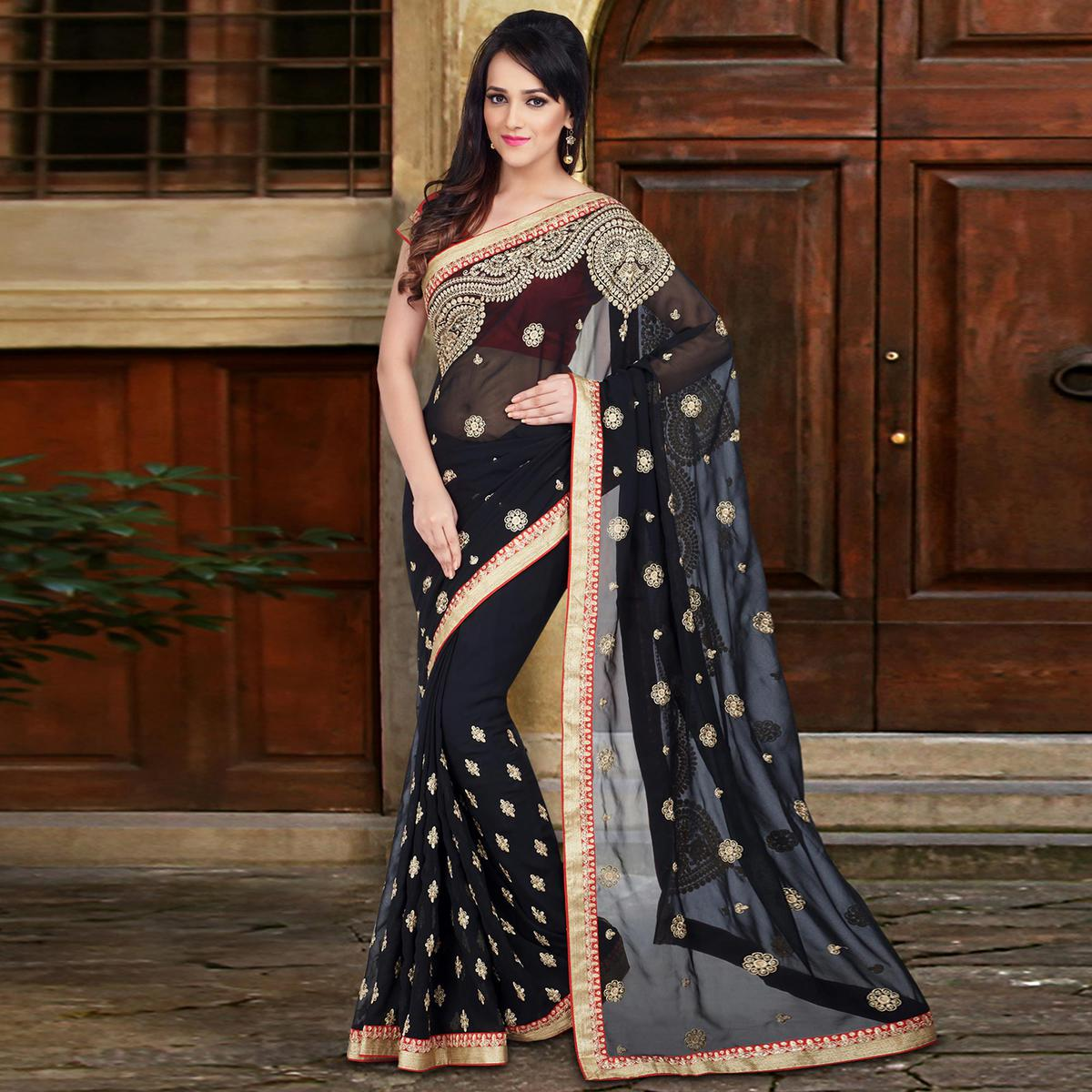 1efdb2f0df Buy Stylish Black Colored Embroidered Party wear Georgette Saree Online  India, Best Prices, Reviews - Peachmode